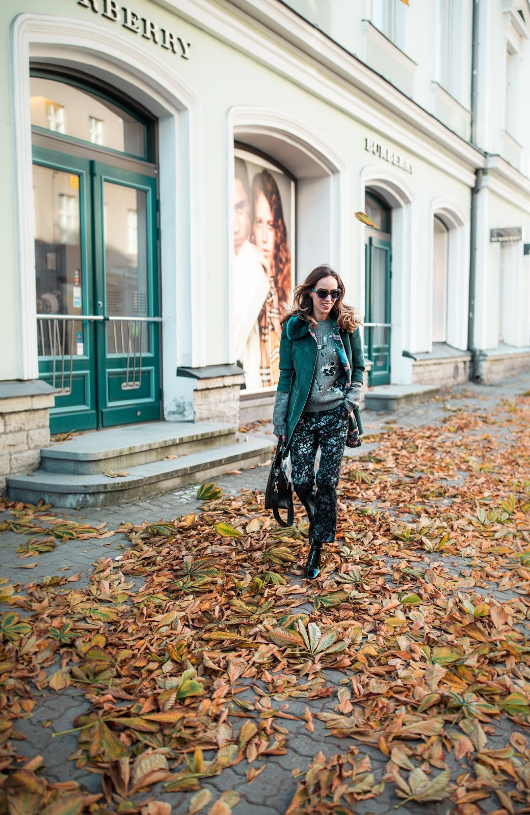fall colorful floral outfit