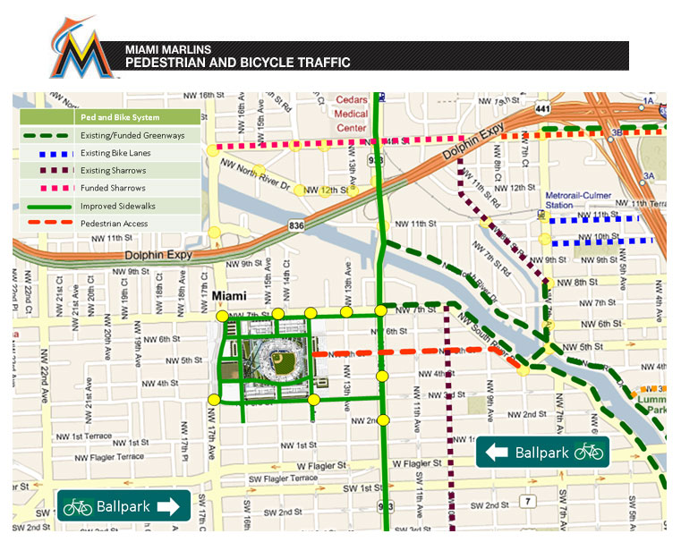 miami marlins - pedestrian and bicycle traffic   the miami