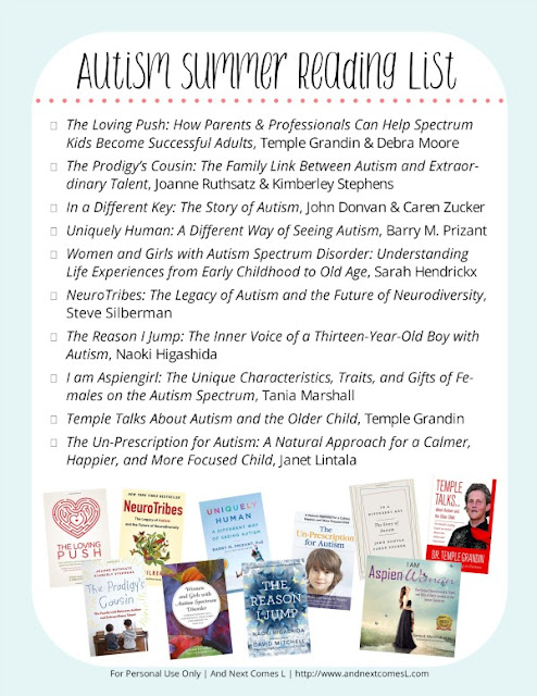 Free printable autism summer reading list from And Next Comes L