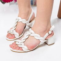 Sandale Kibler albe cu toc gros
