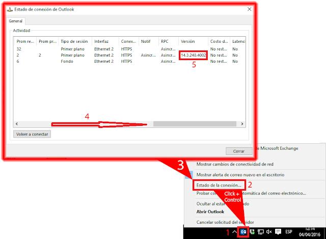 Averiguar la versión de Microsoft Exchange de nuestro servidor de correo electrónico es mediante el cliente de Outlook.