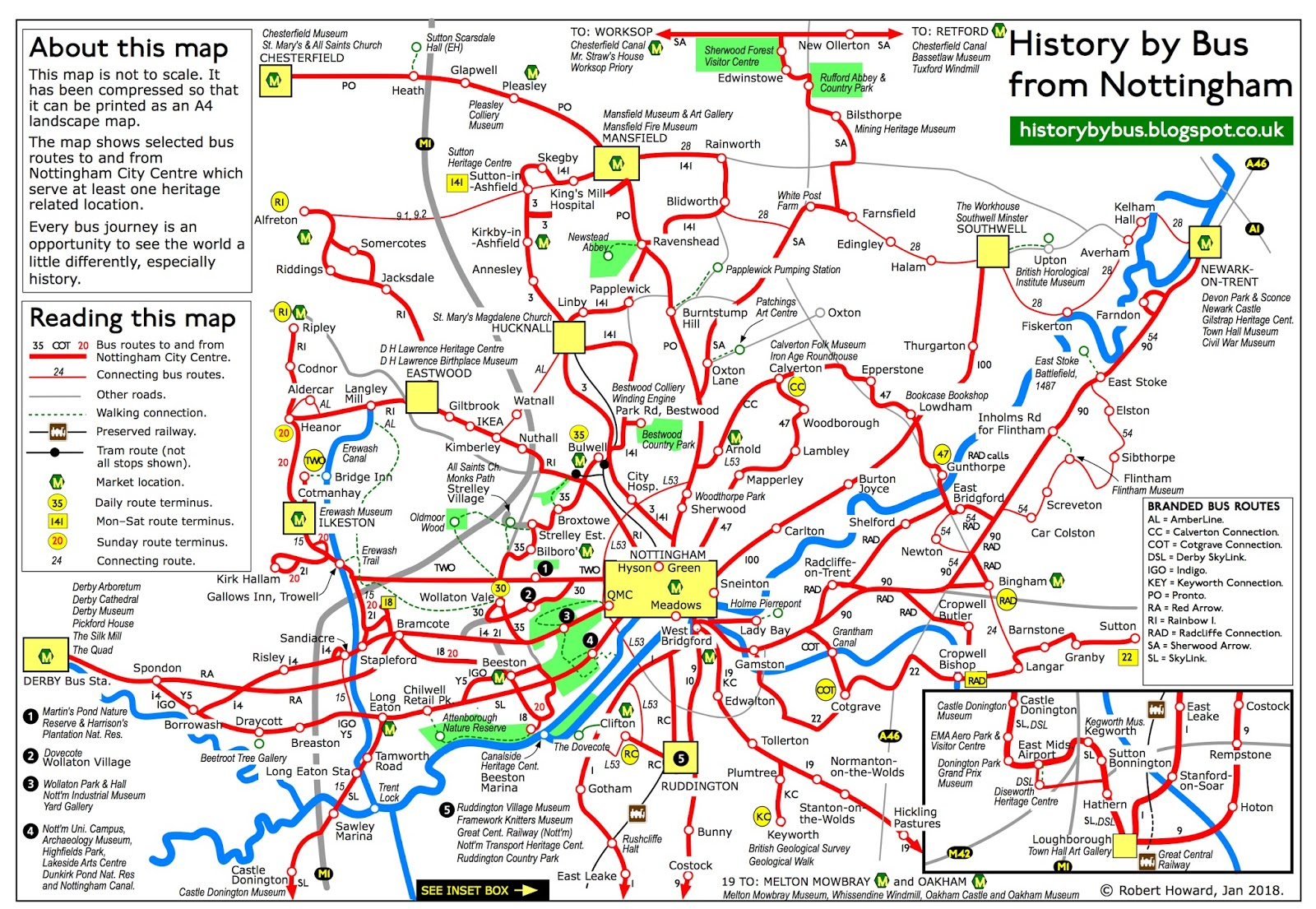History by Nottingham Bus By bus into history from Nottingham map