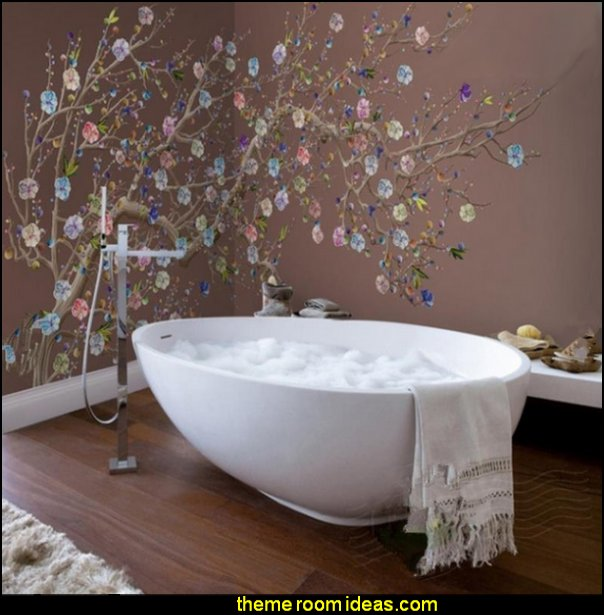 Colorful Plum Blossom Pattern Design Decorative Waterproof 3D Bathroom Wall Murals