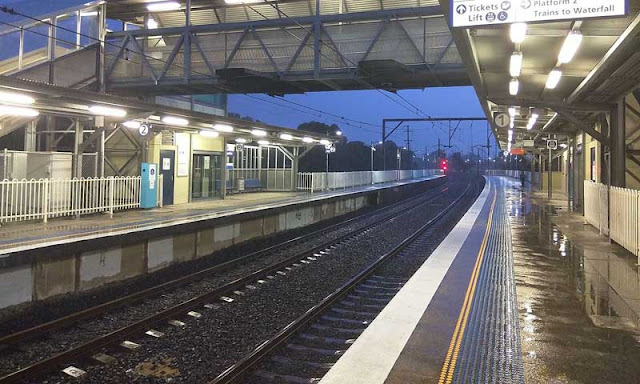 rainy rail station