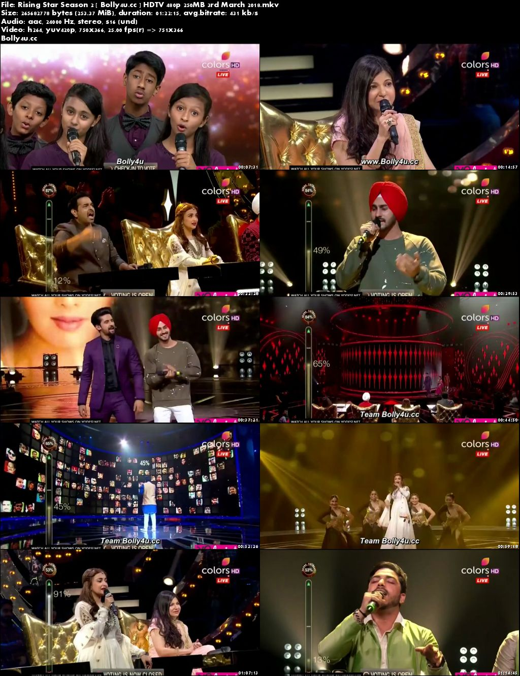 Rising Star Season 2 HDTV 480p 250MB 03 March 2018 Download