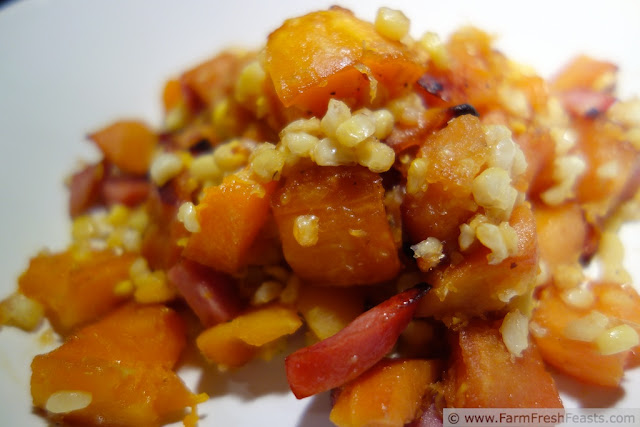 Roasted Acorn and Butternut Squash with Corn and Smoked Sausage