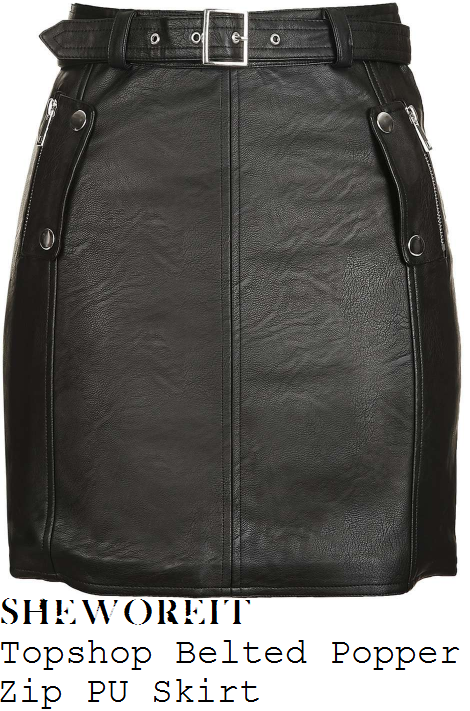 lauren-pope-topshop-black-and-silver-popper-zip-pocket-detail-high-waisted-belted-faux-leather-mini-skirt