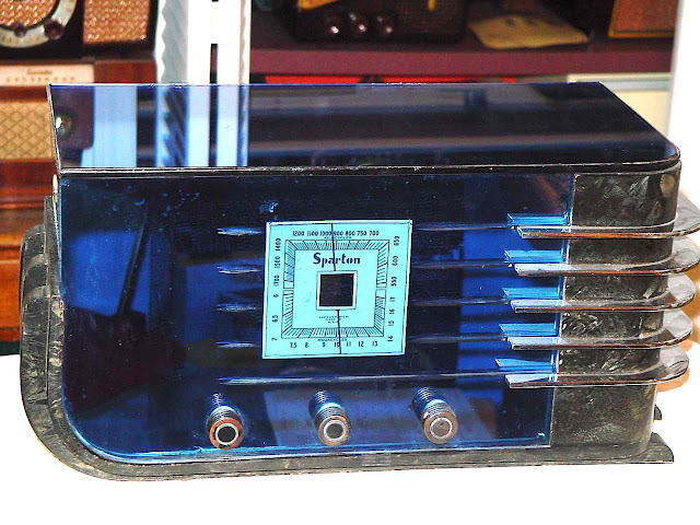 a blue 1936 Sparton radio designed by Walter Dorwin Teague