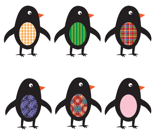 6 cute penguins -- clip art
