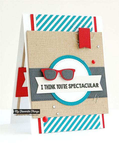 Spectacular Card by Inge Groot featuring the Laina Lamb Design Geek is Chic stamp set and Geek is Chic Glasses Die-namics #mftstamps