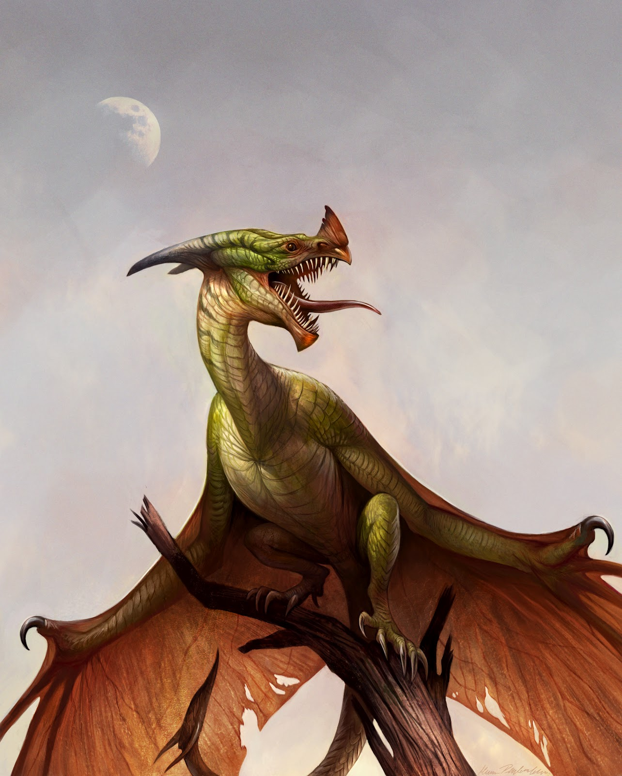Mythological Dragons: Graphite Dragons: Wyvern At Dusk