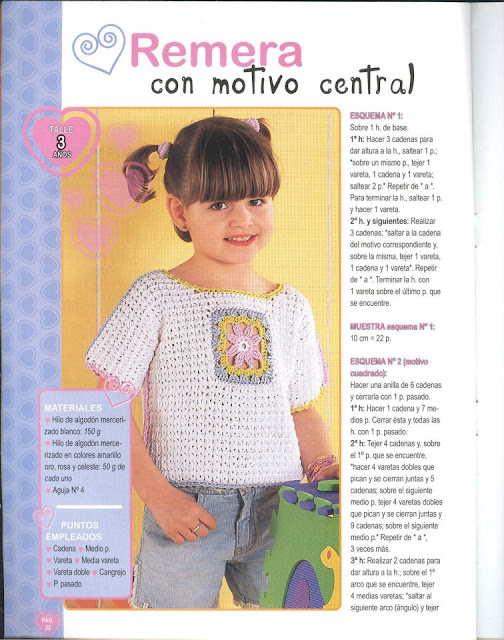 REMERAS CROSSED FOR GIRLS - WITH FLOWERS AND CENTRAL MOTIVE WITH EMPLOYERS crocheted GRAFICOS