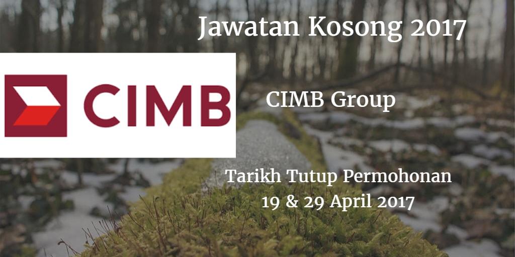 Jawatan Kosong CIMB Group 19 & 29 April 2017