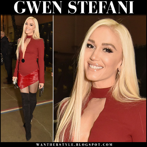 Gwen Stefani in red mini dress david koma and black suede boots casadei blade acm fashion 2018