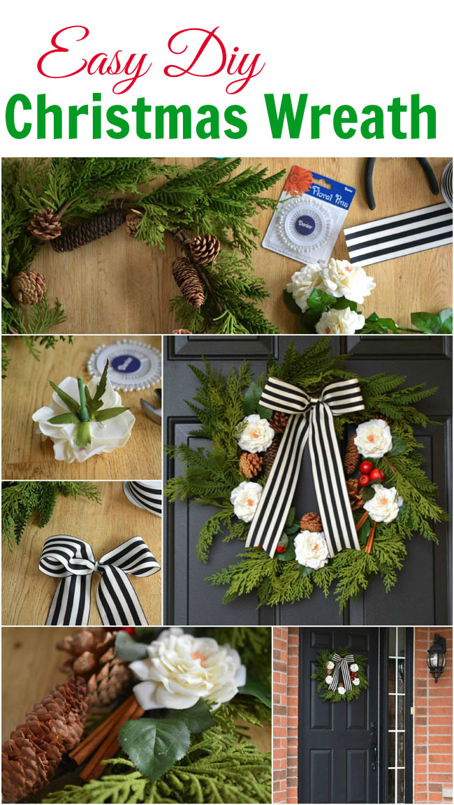 Easy DIY Christmas Wreath Tutorial - with a fresh, natural look and the durability of faux florals