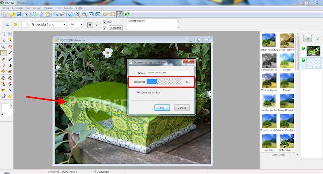 Screenshot PhoXo zum Herabsetzen der Deckkraft