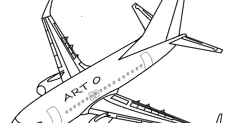 Desenho Art 0: Avião Para Colorir