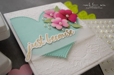 This lovely, just because, card was inspired by a COOKIE!   Hand stamped with Fun Stampers Journey Everyday Script Stamps, and the handmade flowers were created with the Love Is Punch Cartridge.
