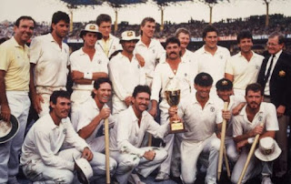 ICC Cricket World Cup 1987 Winner team Australia with wickets and trophy