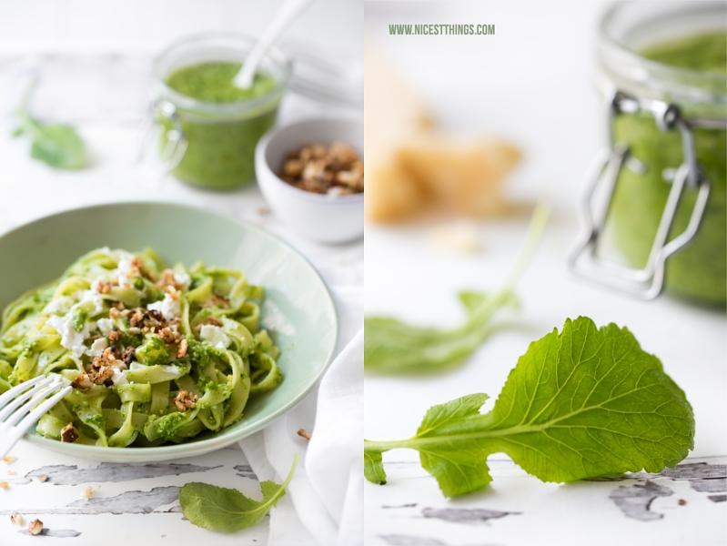 Rezept für Pasta mit Pesto aus Radieschenblättern, Ziegenkäse, Laugen-Honig-Crunch