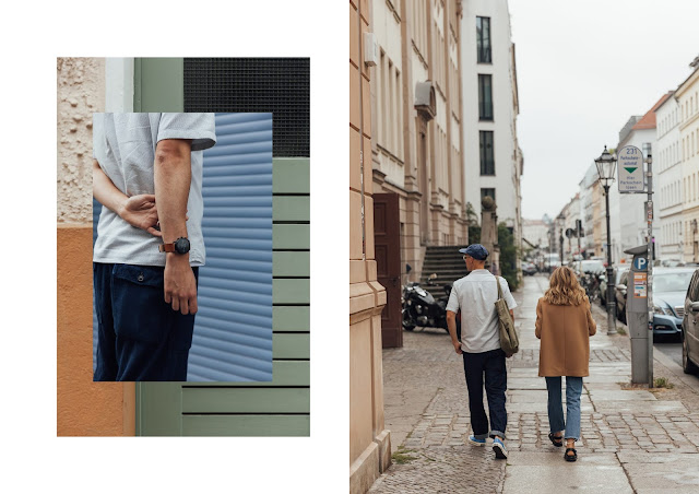 mat buckets wearing universal works denim trousers with jigsaw menswear resort collar shirt in berlin with uk blogger brittany bathgate