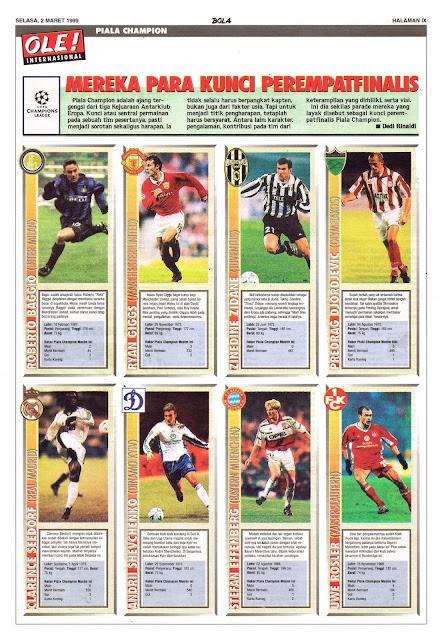 CHAMPIONS LEAGUE 1999 QUARTERFINAL KEY PLAYERS