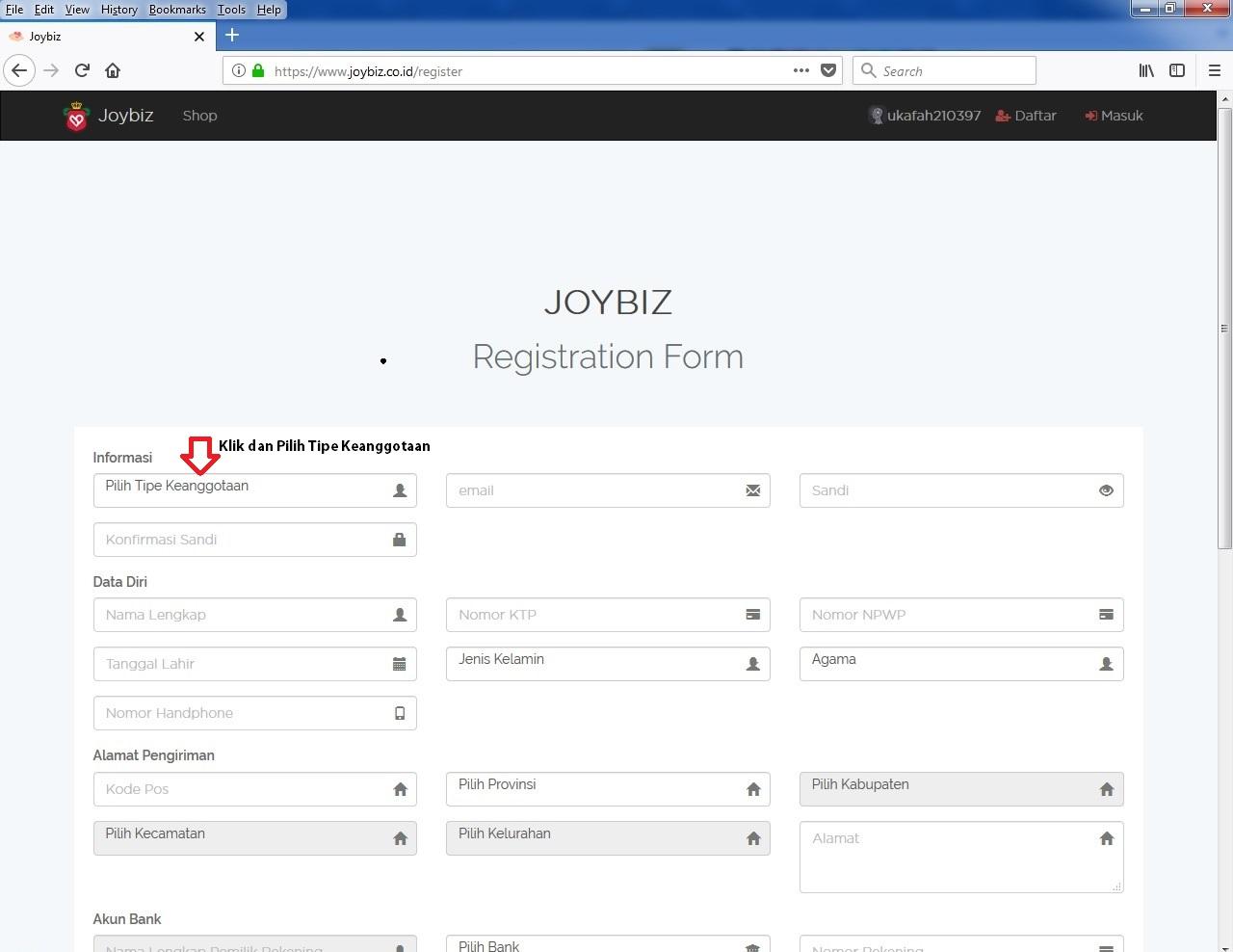 Pilih Tipe Keanggotaan Member Joybiz