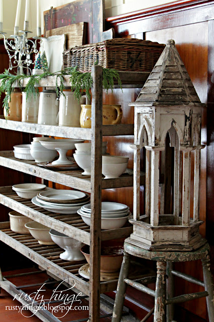 Factory shoe cart ironstone display and vintage cupola