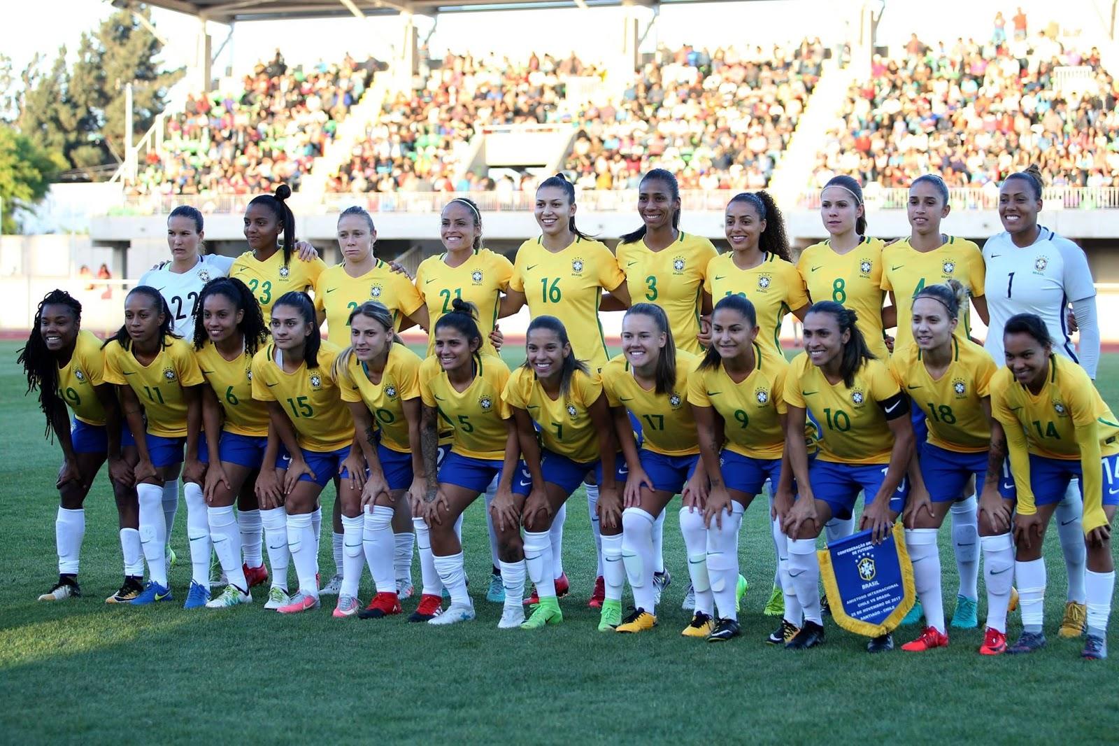 Titulares y suplentes de selección femenina de Brasil ante Chile, amistoso disputado el 25 de noviembre de 2017