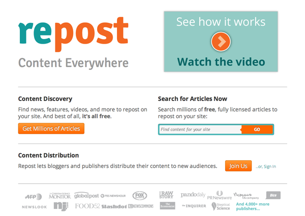 Repost - helps you syndicate your blog content