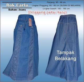 Rok jeans panjang jumbo untuk muslimah - Carla