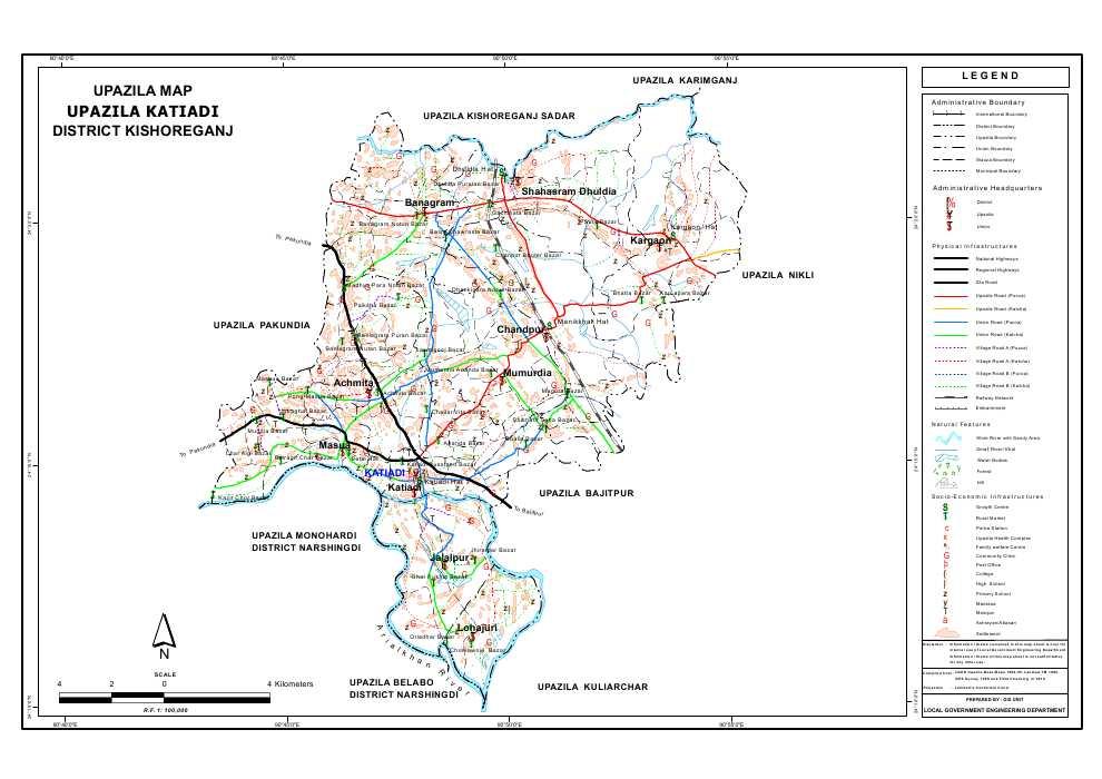 Katiadi Upazila Map Kishoreganj District Bangladesh