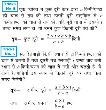 समय और दूरी से सम्बंधित प्रश्नो को हल करने के लिए कुछ महत्त्वपूर्ण TRICKS और सूत्र 5 & 6