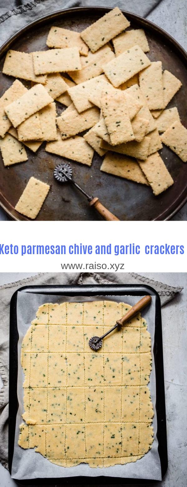 Keto parmesan chive and garlic crackers