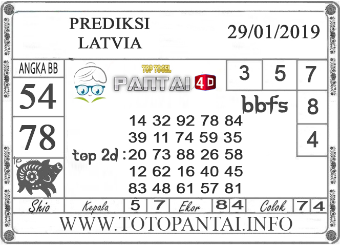 """Prediksi Togel """"LATVIA"""" PANTAI4D 29 JANUARI 2019"""