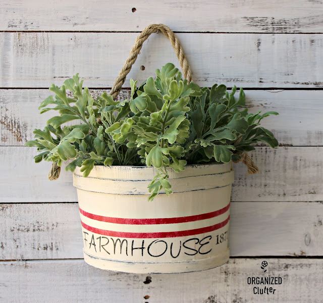 Rummage Sale Firkin Style Planter Upcycle #oldsignstencils #stencil #grainsackstripe #farmhouse