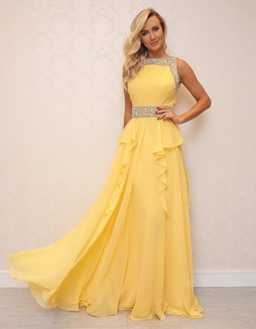 vestido de festa amarelo longo