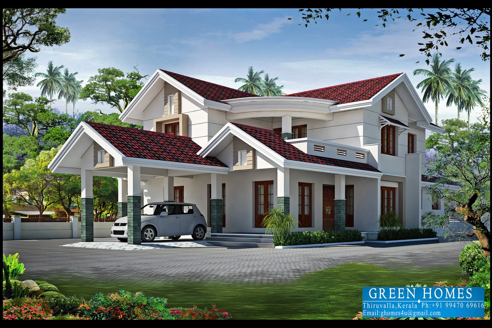 Green homes 4bhk kerala home design 2550 for Latest beautiful houses