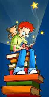 Dibujo de un niño con un libro en la mano a colores