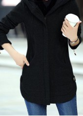 Zipper Up Hooded Collar Black Curved Coat