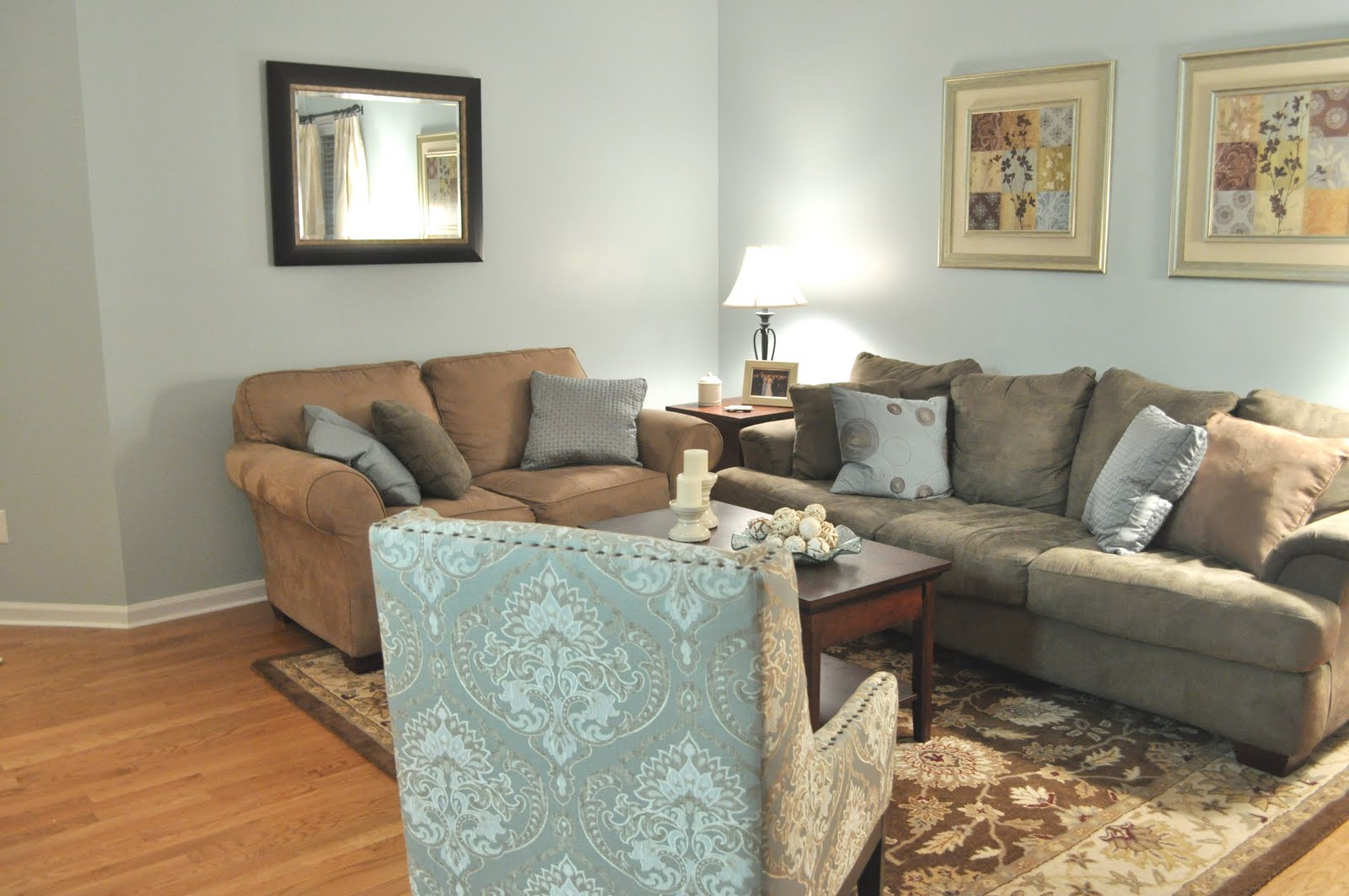 Not so newlywed mcgees living room updates - What colors go with olive green walls ...