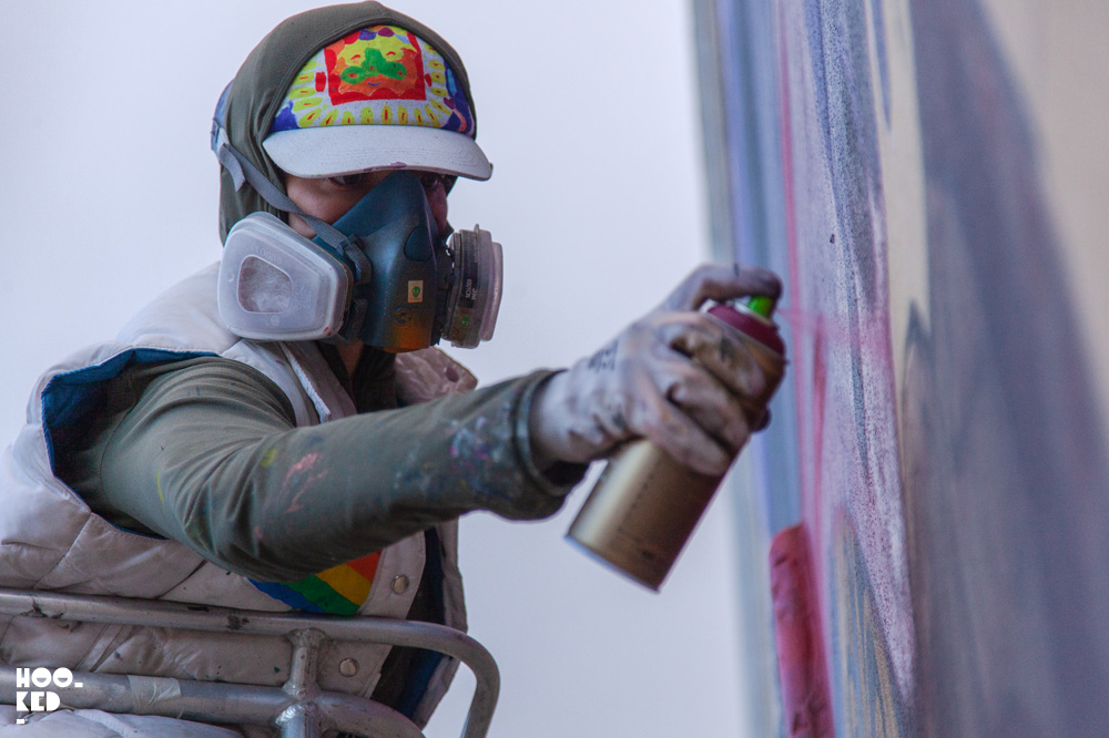 Close up of Argentinian Artist Animalitoland at work in Waterford