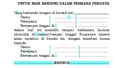 contoh surat kuasa banding perkara pidana surat f