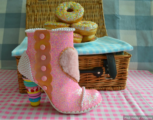 irregular choice bee delicious pink macaron heeled boot on gingham picnic blanket