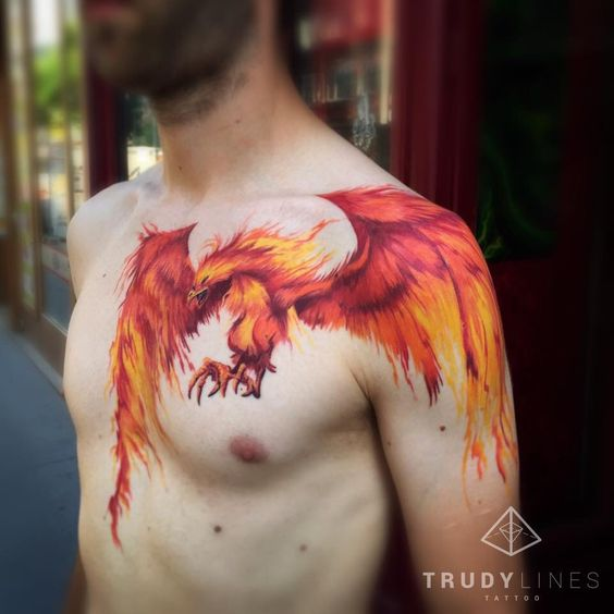 Colorful Phoenix Tattoos For Men