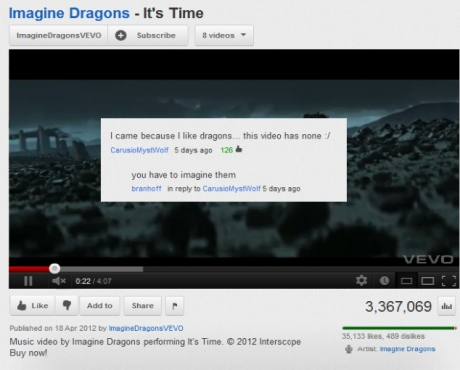 Youtube Comment Imagine Dragons