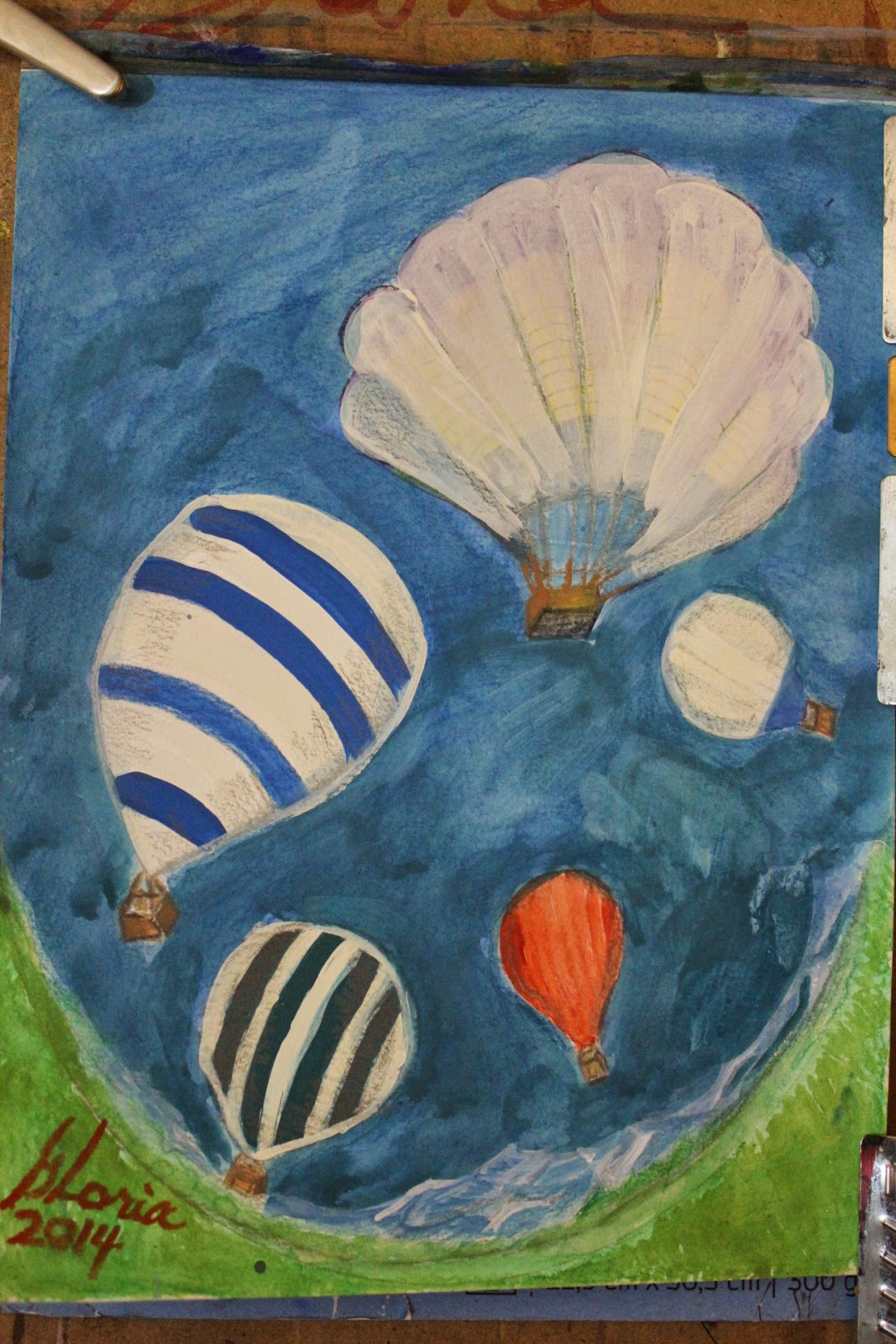 sketch-of-hot-air-balloons-by-Gloria-Poole-of-Missouri-16-June-2014-mixed-media