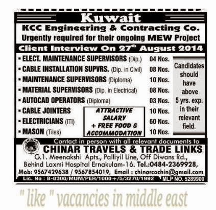 Kuwait Jobs in KCC Engineering & Contracting - Free food