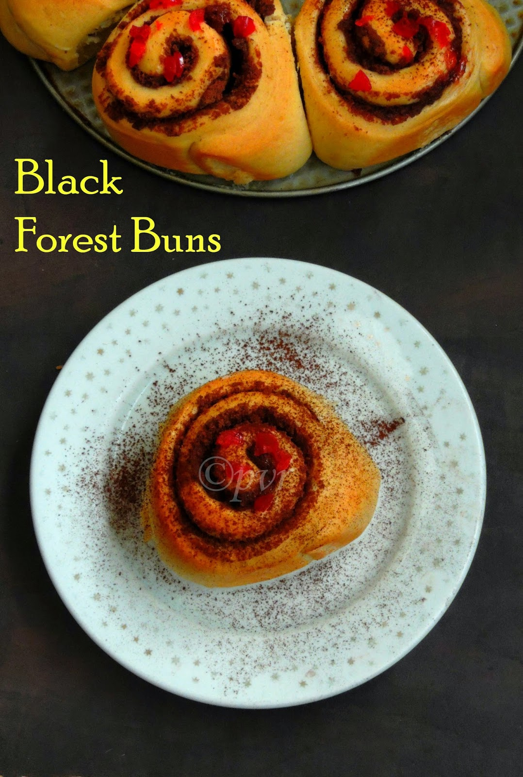 Black forest buns, cerise topped Black forest buns