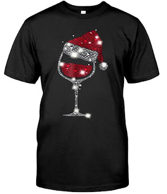 Merry Christmas Santa Wine Glass T Shirts Hoodie